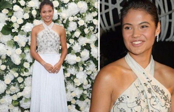 Emma Raducanu puts on elegant display in gown at London Fashion Week bash after tennis win