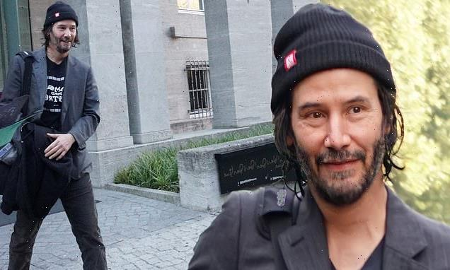 Keanu Reeves puts comfort over fashion in slippers and a beanie