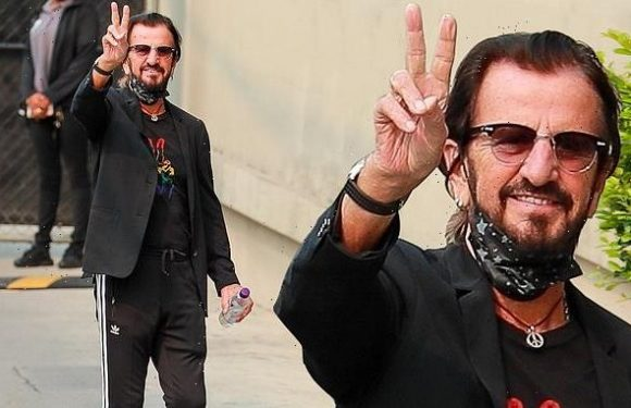 Ringo Starr flashes peace sign before appearance on Jimmy Kimmel Live!