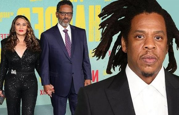 Jay-Z supported by Beyonce's mom Tina Knowles at LA premiere of film