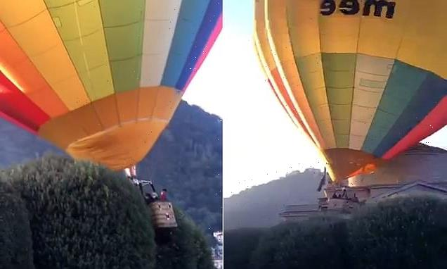 Moment an out-of-control hot air balloon slams into Italian museum